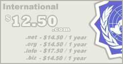Internatioanl Domain Names from $12.00 per year